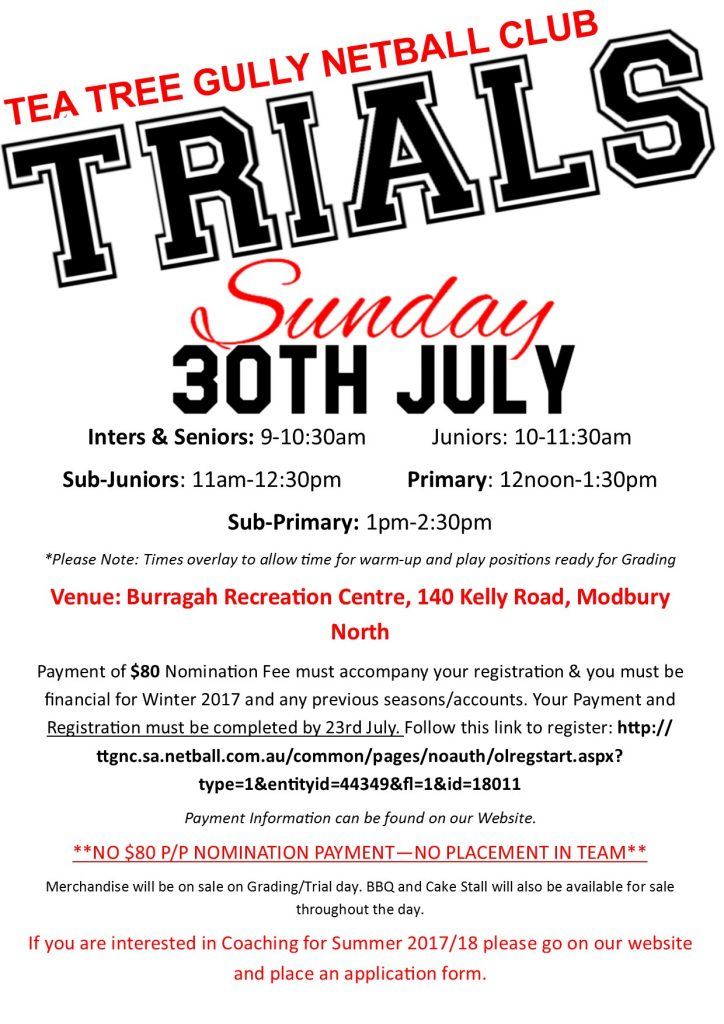 TRIALS 2017/18 Summer @ Burragah Recreation Centre